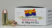 "40S&W 155gr.FP,TCJ.""100rd.CUBE"" Remanufactured Ammo."